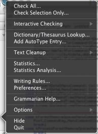 Grammarian dock menu