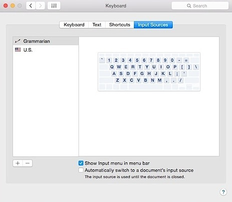 Grammarian Input Menu System Keyboard Preferences
