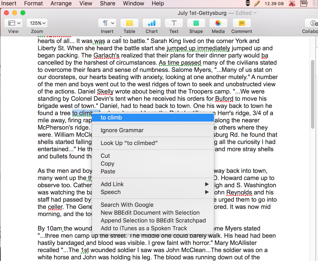 Apple Pages grammar check with spell service